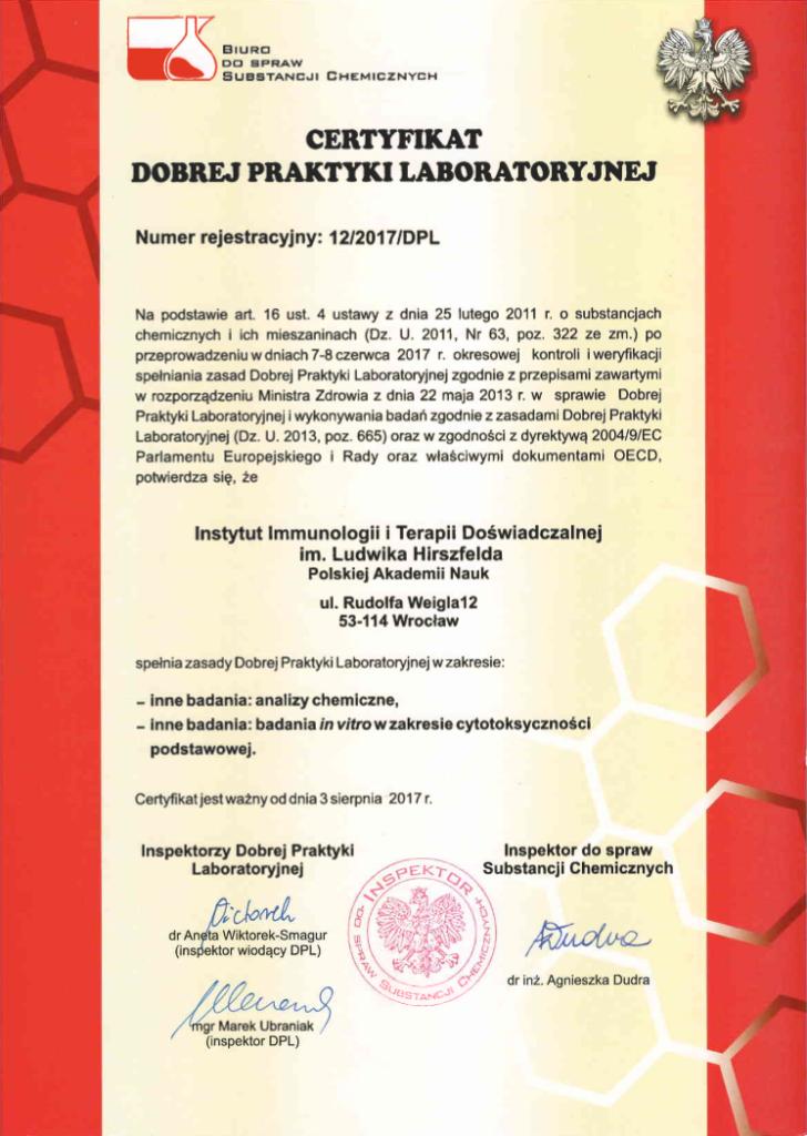 Certyfikat DPL (Dobrej Praktyki Laboratoryjnej)